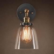 modern vintage industrial loft metal glass rustic sconce wall light wall l uk home