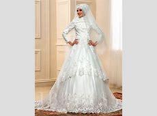 Long Sleeve Appliques Lace Chapel Muslim Wedding Dress