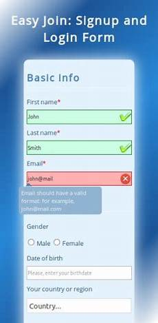 easyjoin responsive signup and login form jquery by kirgol codester
