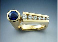 18k Gold Contemporary Sapphire & Diamond Ring
