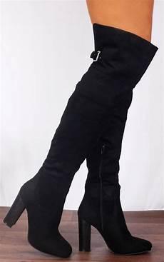 black the knee buckle high heels boots shoe closet