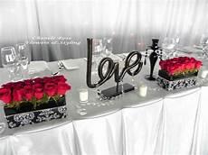 red black silver white centerpieces wedding decor