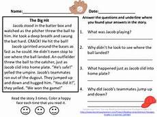 baseball reading comprehension passage grades 2 3 by