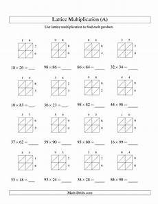 math worksheets lattice multiplication 4485 multiplication worksheet lattice multiplication two digit by two digit all 6th grade