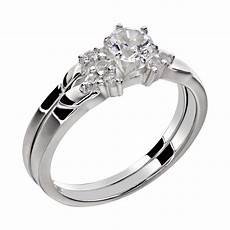 stainless steel wedding rings sets s cut aaa cz stainless steel wedding ring sz 5 10 ebay
