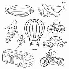 transportation vehicles coloring pages 16403 sketches means of transport black and white vector illustration stock vector colourbox