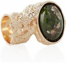 yves laurent arty goldplated glass ring with