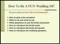 wedding reception ideas for the mc wedding mc tips youtube