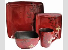 Elise Red 16 Piece Dinnerware Set   Contemporary