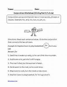 conjunctions worksheet 2 ela literacy l 5 1a language worksheet english grammar worksheets