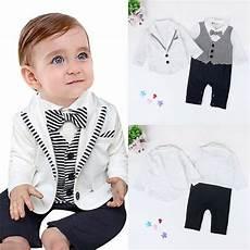 infant boy dress clothes 2pcs toddler kid baby boy gentleman suit coat romper