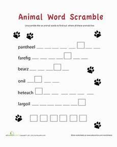 word scramble animals worksheet education com