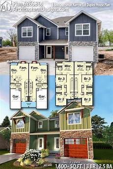 house plans for duplexes plan 62658dj 3 bed craftsman narrow lot duplex house plan