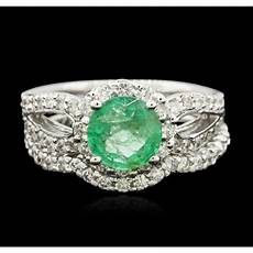 14kt white gold 1 43ct emerald and diamond wedding ring