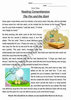 reading comprehension 180 fable 180 the fox and the stork