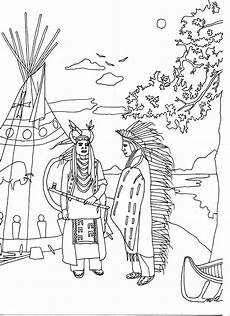 Ausmalbilder Indianer Two Americans American Coloring Pages