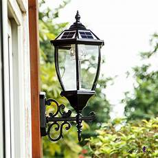 22 h vintage style large led outdoor solar wall lighting in black finish beautifulhalo com