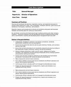 Kitchen Manager Description Pdf by 14 Sle Manager Description Templates Pdf Doc