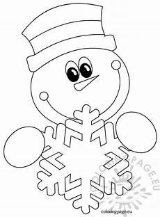 Ausmalbilder Winter Schneemann Snowman Snowflake Coloring Page
