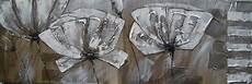 tableau panoramique au couteau fleurs blanches sur toile