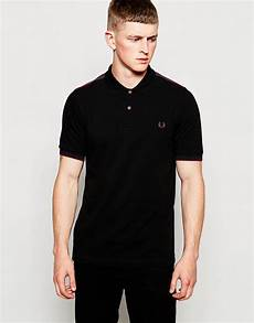 lyst fred perry polo shirt with tartan panel in black in