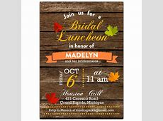 Fall Leaves Bridal Luncheon Invitations   PaperStyle