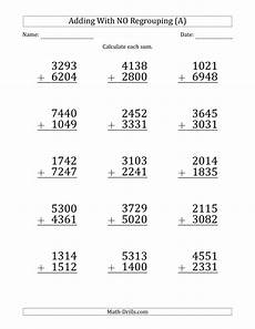 worksheets on 4 digit addition 9173 large print 4 digit plus 4 digit addition with no regrouping a