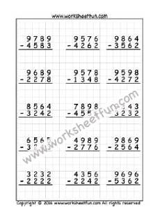 subtraction with regrouping worksheets on graph paper 10688 4 digit subtraction no regrouping three worksheets subtraction worksheets free printable