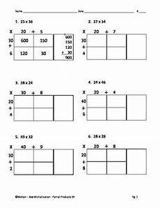 multiplication worksheets box method 4331 box method multiplication partial products 2 digit by 2 digit 24 problems