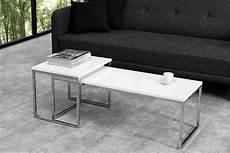 couchtisch set weiß design couchtisch 2er set wei 223 hochglanz chrom metall dunord