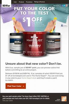 behr limited time 1 off 8 oz behr 174 paint sle jars line or in the home depot 174 milled