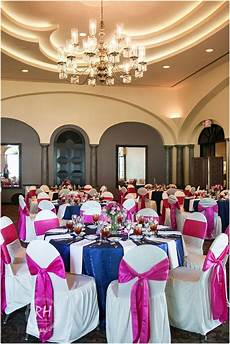 navy blue and hot pink wedding reception colors at the