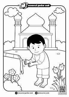 Mewarnai Gambar Anak Mewarnai Gambar Berwudhu Di Masjid