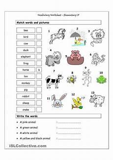 animal worksheets grade 5 13877 vocabulary matching worksheet elementary 1 5 animals language esl efl learn