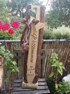 Holz Aufsteller Willkommen Schild Holzbalken