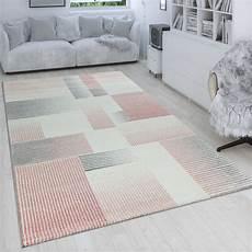 teppich rosa grau wohnzimmer teppich kurzflor karo muster in teppich de