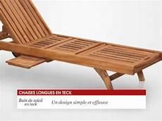 chaise longue bain de soleil en teck 200 cm tek import