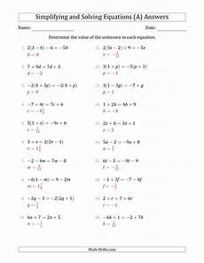 combining like terms and solving simple linear equations a