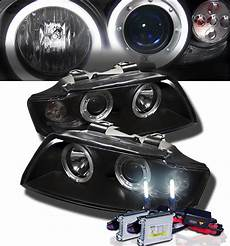 hid xenon 2002 2005 audi a4 s4 eye halo projector headlights black