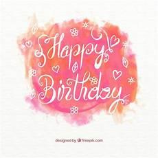 Aquarell Malvorlagen Happy Birthday Watercolor Happy Birthday Card Free Vector