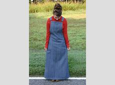 Women's long modest jean denim overall dress skirt, for