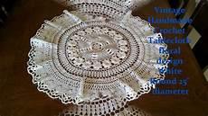 Vintage Handmade Crochet Tablecloth Floral Design White