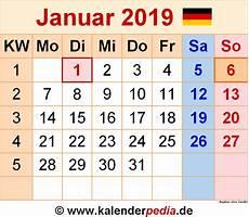 januar 2019 kalender kalender januar 2019 als excel vorlagen