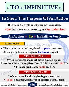 what is the infinitive form of a verb using quot to infinitive quot to show the purpose in english english study page