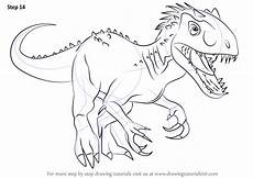 learn how to draw the indomius rex dinosaurs step by
