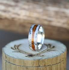 men s silver wedding band with elk antler wood