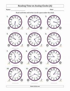 time worksheets activity 2908 reading time on 12 hour analog clocks in 1 minute intervals a