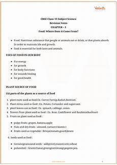science worksheets cbse grade 6 12159 cbse class 6 science chapter 1 food where does it come from revision notes