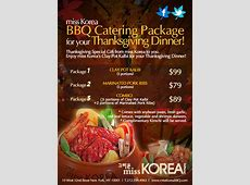 For Your Thanksgiving Dinner, miss KOREA BBQ Catering