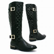 black patent gold buckle quilted boots from parisia
